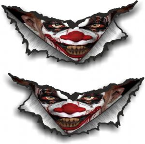 SMALL Pair Triangular Ripped Torn Metal & Evil Horror Clown Motif Vinyl Car Sticker 75x35mm Each
